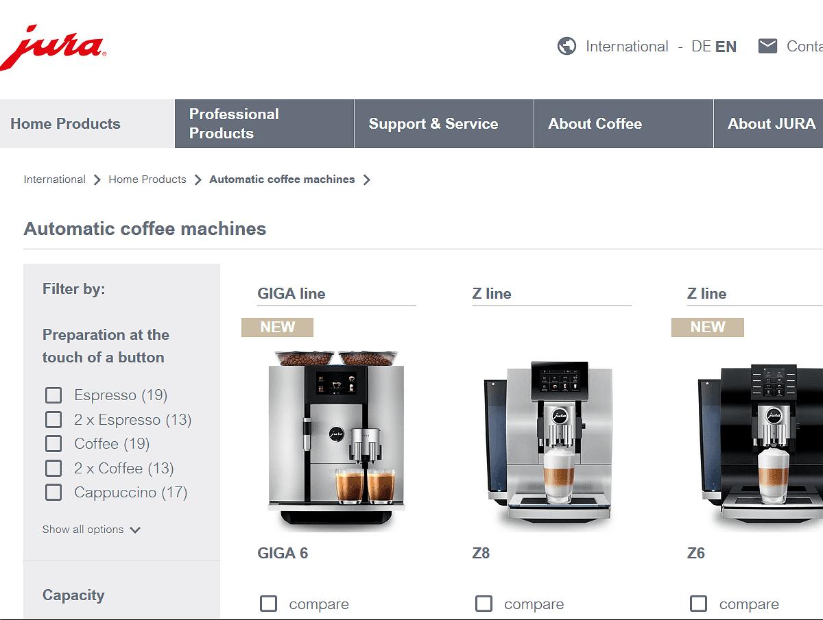 Jura coffee machines website
