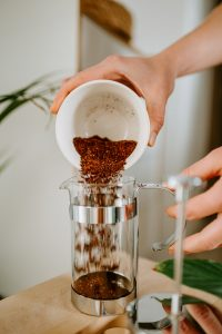 putting water on french press